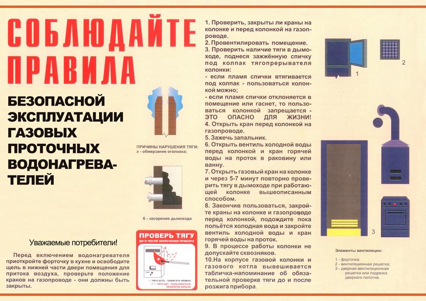 Правила пользования газовой колонкой
